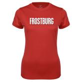 Ladies Syntrel Performance Red Tee-Frostburg State Wordmark Logo