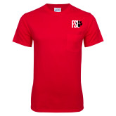Red T Shirt w/Pocket-FSU Primary Logo