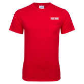 Red T Shirt w/Pocket-Frostburg State Wordmark Logo