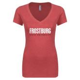 Next Level Ladies Vintage Red Tri Blend V Neck Tee-Frostburg State University