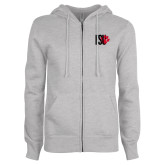 ENZA Ladies Grey Fleece Full Zip Hoodie-FSU Primary Logo
