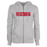 ENZA Ladies Grey Fleece Full Zip Hoodie-Frostburg State Wordmark Logo