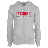 ENZA Ladies Grey Fleece Full Zip Hoodie-Frostburg State University