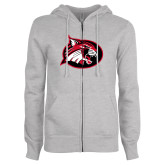 ENZA Ladies Grey Fleece Full Zip Hoodie-Bobcat logo