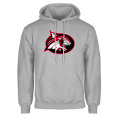 Grey Fleece Hoodie-Bobcat logo