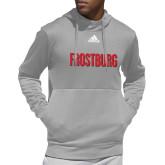 Adidas Grey Team Issue Hoodie-Frostburg State Wordmark Logo