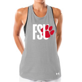 Ladies Under Armour Grey Pinhole Tank-FSU Primary Logo