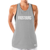 Ladies Under Armour Grey Pinhole Tank-Frostburg State Wordmark Logo