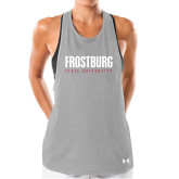 Ladies Under Armour Grey Pinhole Tank-Frostburg State University