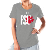 Ladies Under Armour Grey Charged Cotton Tee-FSU Primary Logo