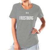Ladies Under Armour Grey Charged Cotton Tee-Frostburg State Wordmark Logo