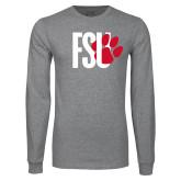Grey Long Sleeve T Shirt-FSU Primary Logo