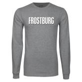 Grey Long Sleeve T Shirt-Frostburg State Wordmark Logo