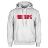 White Fleece Hoodie-Frostburg State Wordmark Logo