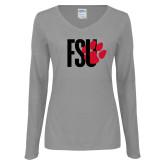 Ladies Grey Long Sleeve V Neck Tee-FSU Primary Logo