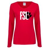 Ladies Red Long Sleeve V Neck Tee-FSU Primary Logo