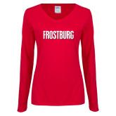 Ladies Red Long Sleeve V Neck Tee-Frostburg State Wordmark Logo