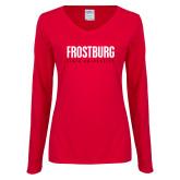Ladies Red Long Sleeve V Neck Tee-Frostburg State University