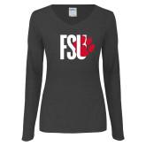 Ladies Dark Heather Long Sleeve V Neck Tee-FSU Primary Logo
