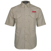 Khaki Short Sleeve Performance Fishing Shirt-Frostburg State Wordmark Logo