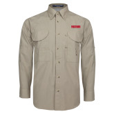 Khaki Long Sleeve Performance Fishing Shirt-Frostburg State Wordmark Logo