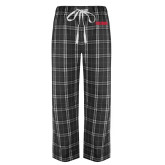 Black/Grey Flannel Pajama Pant-Frostburg State Wordmark Logo