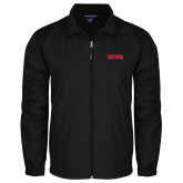 Full Zip Black Wind Jacket-Frostburg State Wordmark Logo