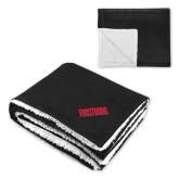 Super Soft Luxurious Black Sherpa Throw Blanket-Frostburg State Wordmark Logo