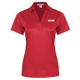 Ladies Red Performance Fine Jacquard Polo-Frostburg State Wordmark Logo