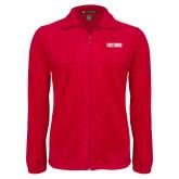 Fleece Full Zip Red Jacket-Frostburg State Wordmark Logo