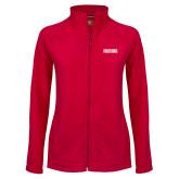 Ladies Fleece Full Zip Red Jacket-Frostburg State Wordmark Logo