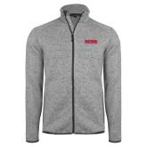 Grey Heather Fleece Jacket-Frostburg State Wordmark Logo