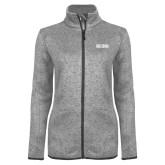 Grey Heather Ladies Fleece Jacket-Frostburg State Wordmark Logo