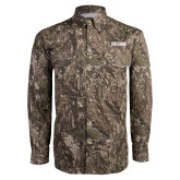 Camo Long Sleeve Performance Fishing Shirt-Frostburg State Wordmark Logo