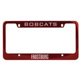 Metal Red License Plate Frame-Frostburg State Wordmark Logo Engraved