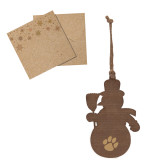 Wood Snowman Ornament-Paw Print Engraved