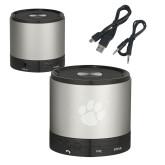 Wireless HD Bluetooth Silver Round Speaker-Paw Print Engraved