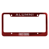 Alumni Metal Red License Plate Frame-Frostburg State Wordmark Logo Engraved