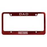 Dad Metal Red License Plate Frame-Frostburg State Wordmark Logo Engraved