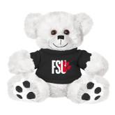 Plush Big Paw 8 1/2 inch White Bear w/Black Shirt-FSU Primary Logo