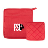 Quilted Canvas Red Pot Holder-FSU Primary Logo