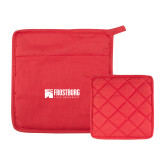 Quilted Canvas Red Pot Holder-Frostburg State University Logo