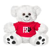Plush Big Paw 8 1/2 inch White Bear w/Red Shirt-FSU Primary Logo