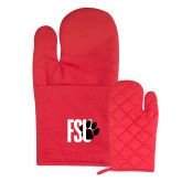 Quilted Canvas Red Oven Mitt-FSU Primary Logo