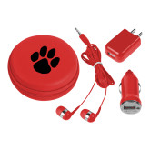 3 in 1 Red Audio Travel Kit-Paw Print