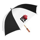 64 Inch Black/White Vented Umbrella-FSU Primary Logo