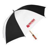 64 Inch Black/White Vented Umbrella-Frostburg State University Logo