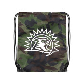 Camo Drawstring Backpack-Sunbird Head