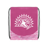 Nylon Zebra Pink/White Patterned Drawstring Backpack-Sunbird Head