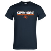 Navy T Shirt-Fresno Pacific University Swim & Dive Stencil